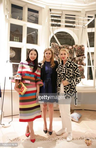 Fashion investor Wendy Yu Princess Beatrice and jewelry designer Sabine Getty attend the Mary Katrantzou 10th Anniversary celebration on October 7...