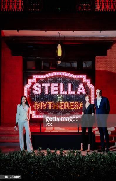 Fashion investor/Yu Holdings CEO Wendy Yu, designer Stella McCartney and Mytheresa CEO Michael Kliger attend Mytheresa x Stella McCartney launch...