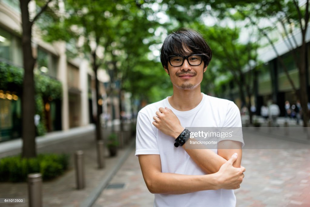fashion japanese adult man walking : Stock Photo
