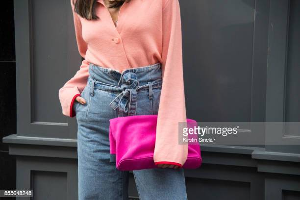 Fashion journalist and co founder of wwwandfinallycouk Anna Rosa Vitiello wears Current Elliot jeans Stine Goya jumper Max V Koenig bag on day 2 of...