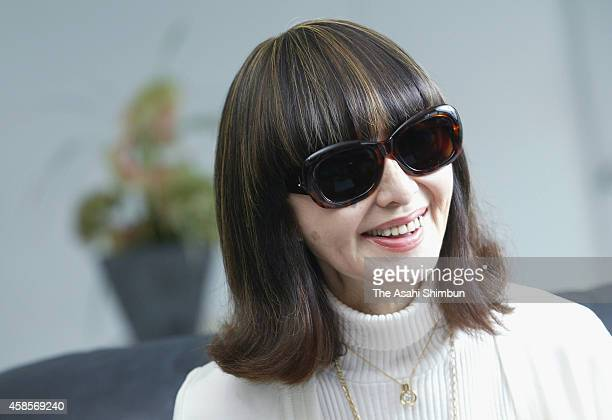 Fashion journalist Junko Ouchi whose real name is Junko Miyauchi speaks during the Asahi Shimbun interview on August 9 2006 in Tokyo Japan