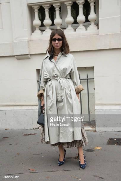 Fashion journalist Natasha Goldenberg wears Balenciaga shoes and sunglasses day 6 of Paris Womens Fashion Week Spring/Summer 2018 on October 1 2017...