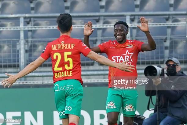Fashion Junior Sakala of KV Oostende celebrates after scoring his team's second goal during KV Oostende vs KV Mechelen - Jupiler Pro League Europa...