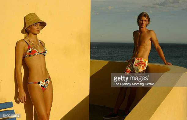 Fashion label Anna and Boy swimwear which will be shown at fashion week being modelled by Tianne NagyJones and Josh Gray at Tamarama on 19 April 2006...
