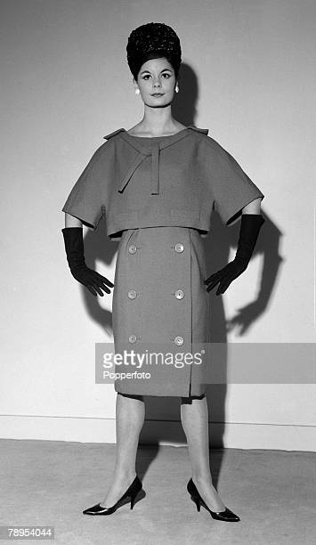 Fashion London England November 1959 An Apricot wool dress worn with a 'sailor' collar from the Christian Dior Spring Collection