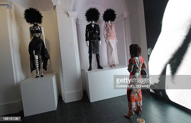 Fashion mannequins are on display during the 'Punk Chaos to Couture' exhibition preview of the Costume Institute at the Metropolitan Museum in New...