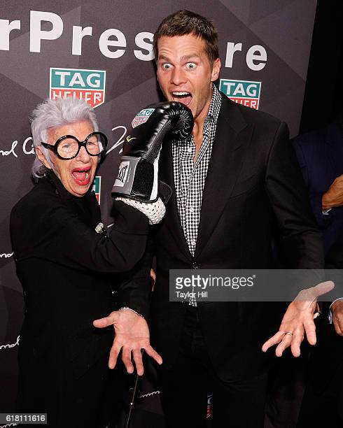 Fashion maven Iris Apfel boxes New England Patriots quarterback Tom Brady at the TAG Heuer 'Don't Crack Under Pressure' Muhammad Ali tribute at...