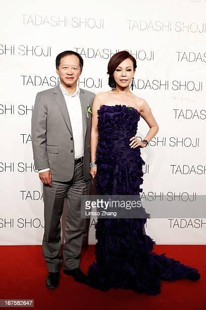 Fashion Media president Liu Jiang and Taiwanese singer Julia attends the Tadashi Shoji Beijing Store Grand Opening at Beijing Parkview Green on April...