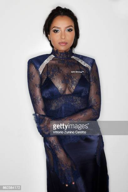 Fashion model and actor Kat Graham poses for a portrait during amfAR Gala Milano on September 21 2017 in Milan Italy