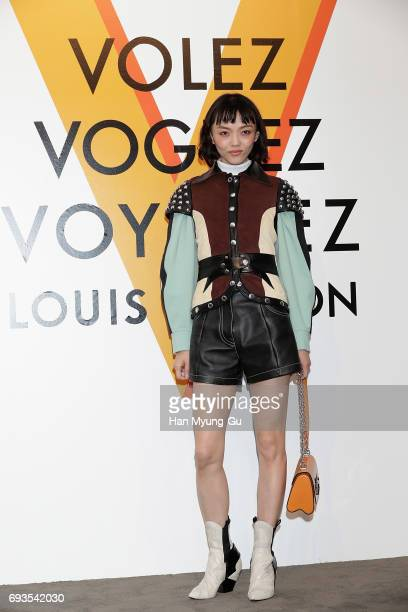 Fashion Model and actress Rila Fukushima from Japan attends the photocall for Volez Voguez Voyagez Louis Vuitton Exhibition at DDP on June 7 2017 in...