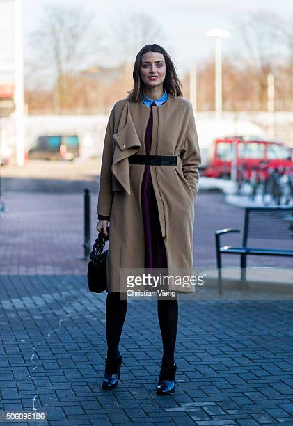 Fashion Model and singer Eva Padberg outside Perret Schaad during the MercedesBenz Fashion Week Berlin Autumn/Winter 2016 on January 21 2016 in...