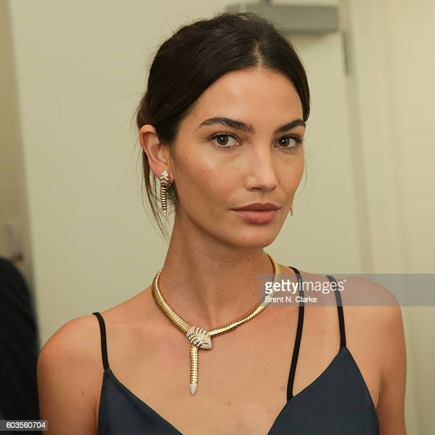 Fashion model and the newest face for BVLGARI Lily Aldridge poses with BVLGARI jewlery during the BVLGARI Press Conference held on September 12 2016...