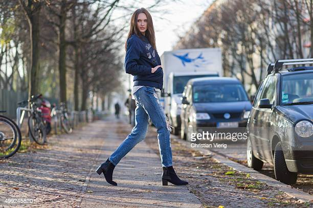 Fashion Model Anna Wilken is wearing Puma jacket shirt HM pants Zara shoes Tamaris on November 27 2015 in Berlin Germany