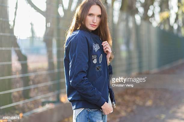 Fashion Model Anna Wilken is wearing Puma jacket shirt HM pants Zara on November 27 2015 in Berlin Germany