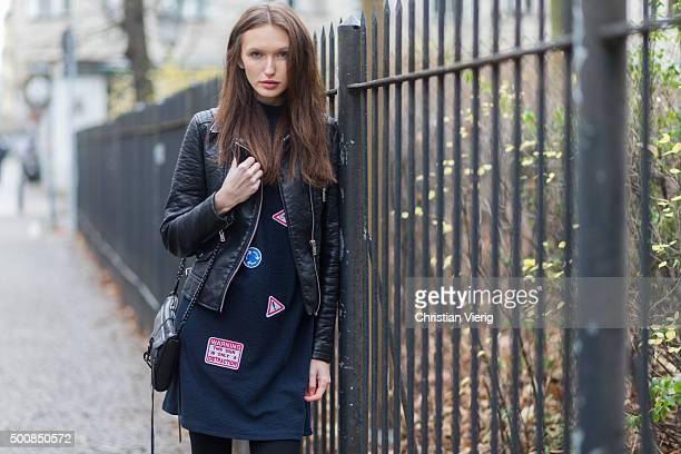 Fashion model Anna Wilken wearing Zara jacket dress Rebecca Minkoff bag on December 10 2015 in Berlin Germany