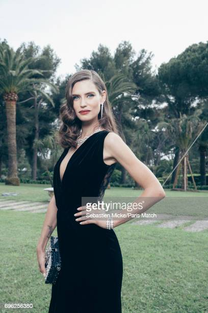 Fashion model Bianca Balti wearing a Dolce Gabbana dress is photographed for Paris Match whilst attending the Amfar Gala at the Eden Roc Hotel on May...