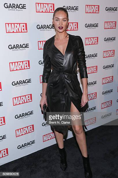 Fashion model Candice Swanepoel attends the Marvel cover release event with Garage Magazine on February 11 2016 in New York City