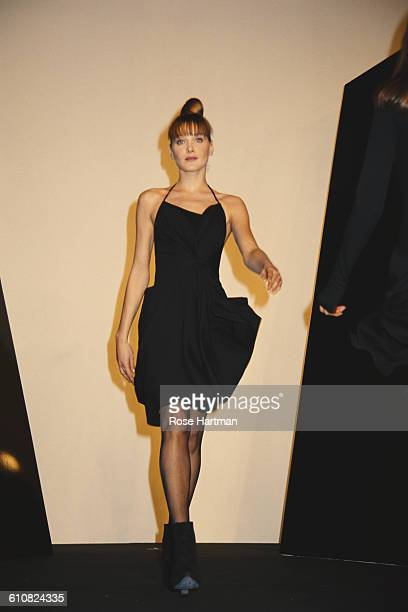Fashion model Carla Bruni at the Donna Karan Fall 1994 fashion show Bryant Park New York City 13th April 1994