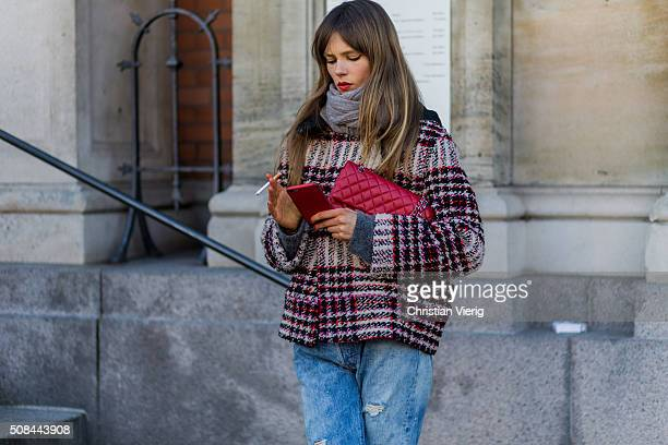 Fashion model Caroline Brasch Nielsen outside By Malene Birger during the Copenhagen Fashion Week Autumn/Winter 2016 on February 4 2016 in Copenhagen...