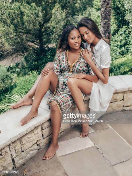 Fashion model Cindy Bruna is photographed with her sister Christie for Paris Match on May 29 2017 in SaintPaulDeVence France