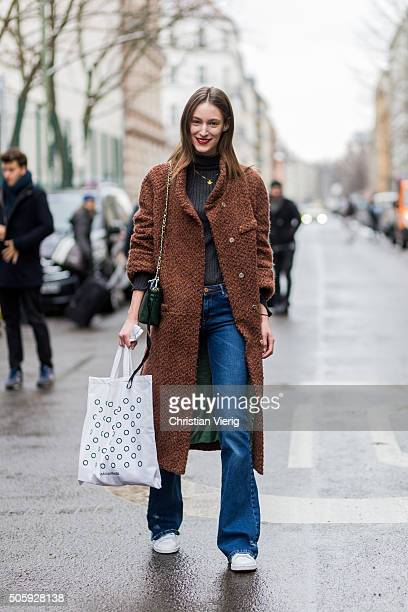 Fashion model Franziska Mueller outside Malaikaraiss during the MercedesBenz Fashion Week Berlin Autumn/Winter 2016 at Brandenburg Gate on January 20...