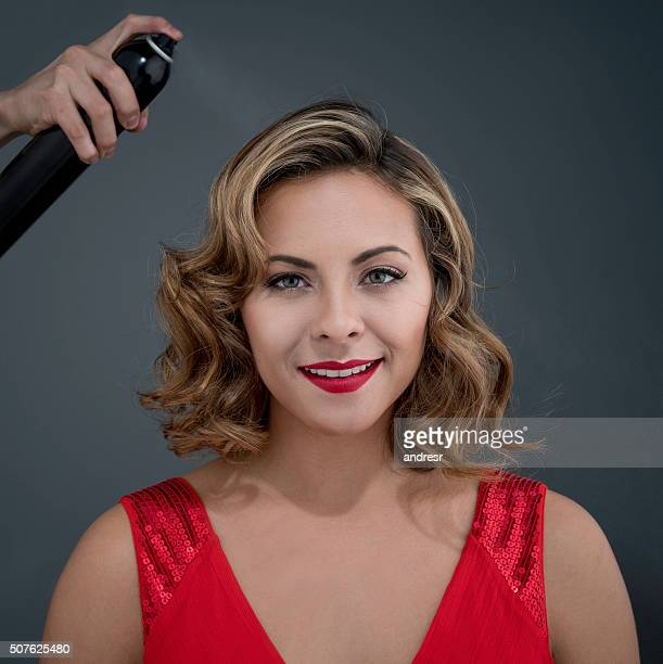 Fashion model getting her hair done