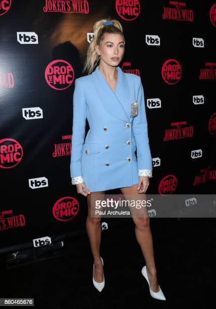 Fashion Model Hailey Baldwin attends the premiere for TBS's Drop The Mic and The Joker's Wild at The Highlight Room on October 11 2017 in Los Angeles...