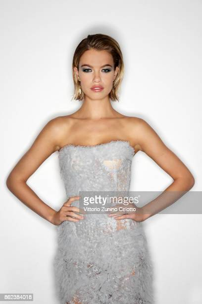Fashion model Hailey Clauson poses for a portrait during amfAR Gala Milano on September 21 2017 in Milan Italy