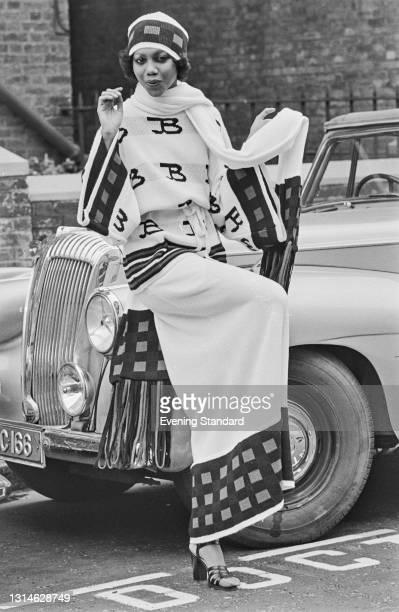 Fashion model Hazel wearing an elegant full-length outfit, UK, 1st May 1974.