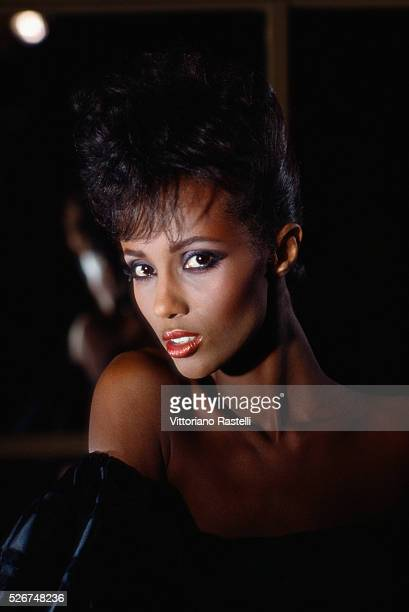 Fashion model Iman poses for photographs