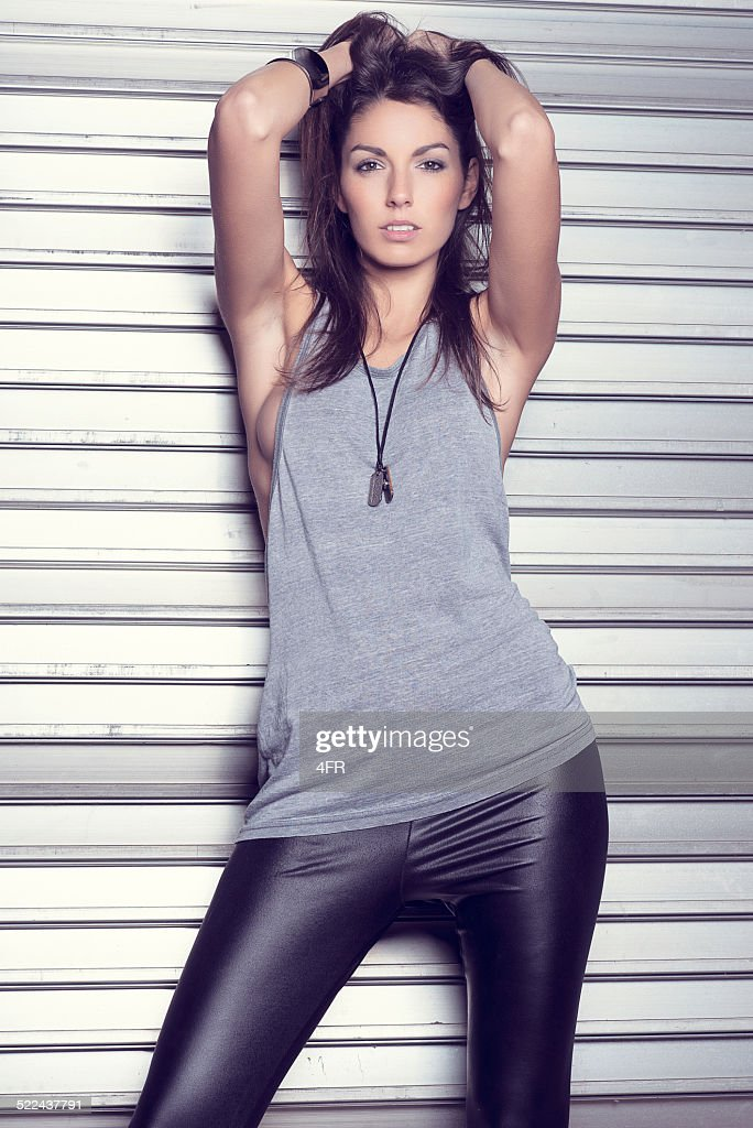Fashion Model In A Warehouse Stock Photo