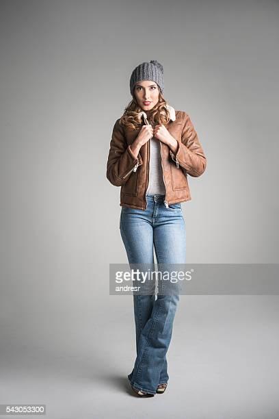 fashion model in casual clothes - coat fotografías e imágenes de stock