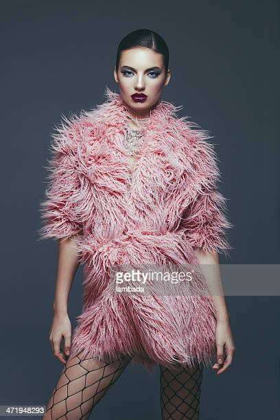 fashion model in fur coat - fur stock pictures, royalty-free photos & images