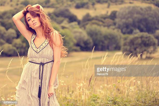 Fashion model in spring clothes - outdoor shot