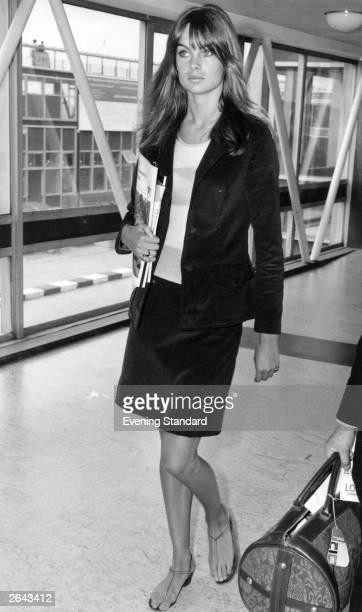 Fashion model Jean Shrimpton arriving at Heathrow Airport