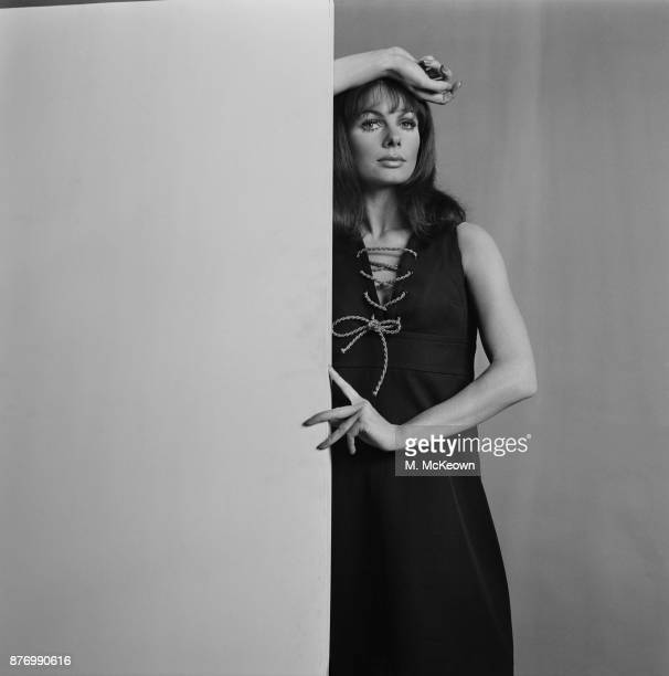 Fashion model Jenny York wearing Yves Saint Laurent sleeveless dress UK 1st April 1968