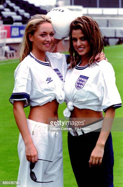Fashion model Jordan and television personality Jodie Shaw appearing in England football shirts during the inaugral Women's Charity Shield football...