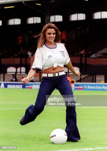 Fashion model Jordan taking part in the prematch penalty shoot out before the inaugral Women's Charity Shield football match between Arsenal and...