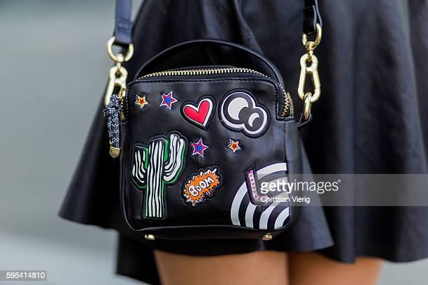 Fashion model Jueli Mery wearing black Zara bag on August 25, 2016 in Duesseldorf, Germany.