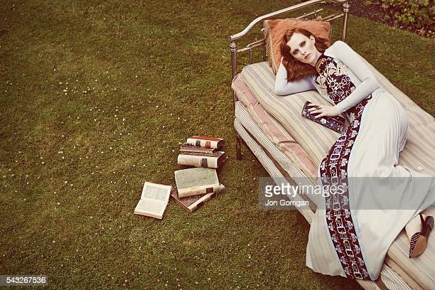 Fashion model Karen Elson is photographed for the Stylist magazine on June 14 2014 in London England