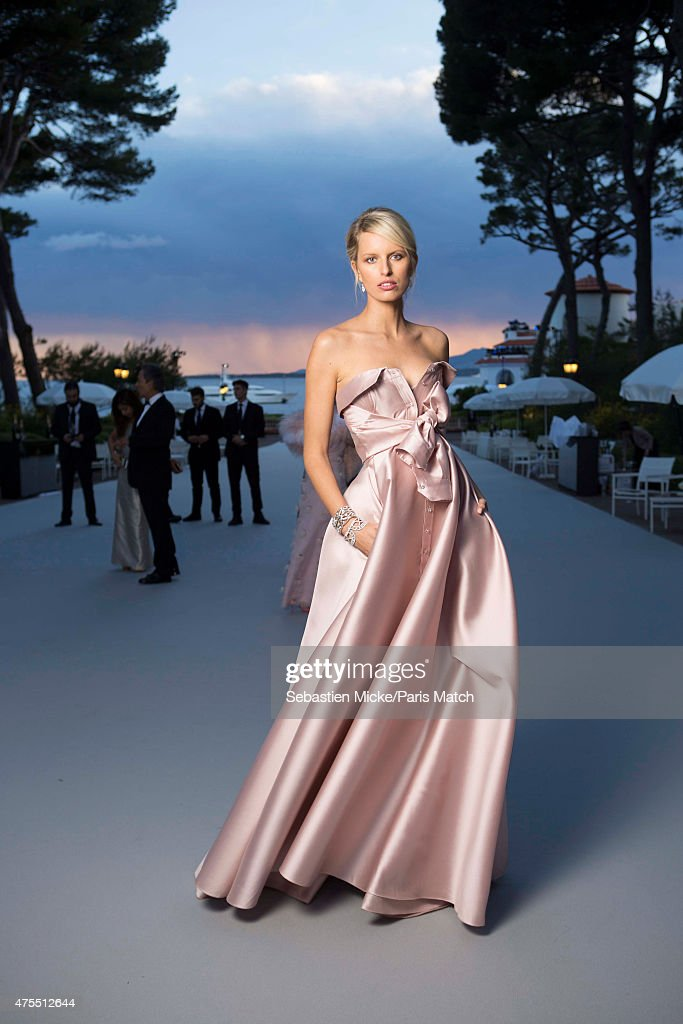 Fashion model Karolina Kurkova wearing an Alexis Mabille dress attends the 22nd Gala for AmFar Cinema Against AIDS. Photographed for Paris Match at the Cap-Eden-Roc hotel on May 21, 2015 in Cap d'Antibes, France.