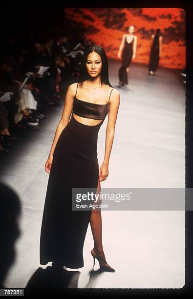 Fashion model Kimora Lee Simmons walks the runway on February 17, 1999 during the Marc Bouwer 1999 Fall Fashion Show in New York City. Fashion...