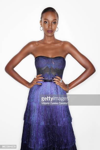 Fashion model Leila Nda poses for a portrait during amfAR Gala Milano on September 21, 2017 in Milan, Italy.