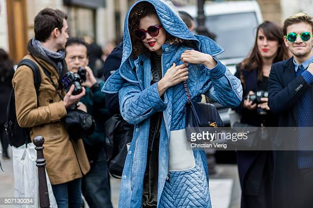 Fashion model Lindsey Wixson outside Jean Paul Gaultier during the Paris Fashion Week Haute Couture Spring/Summer 2016 on January 27 2016 in Paris...