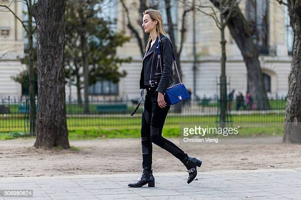 Fashion Model Maartje Verhoef wearing a Dior bag outside Chanel during the Paris Fashion Week Haute Couture Spring/Summer 2016 on January 26 2016 in...