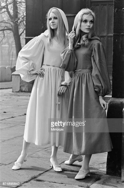 Fashion model Madeline Smith wearing a countdown dress March 1969