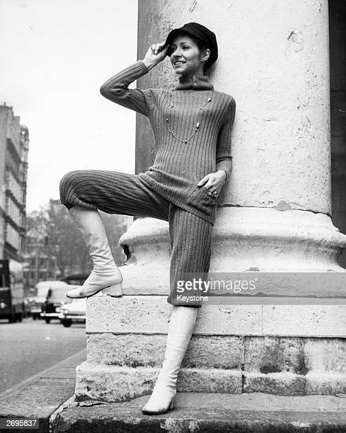Fashion model Marcella wearing a skinny rib sweater with matching knee breeches