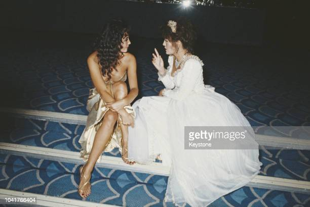 Fashion model Marie Helvin with actress LesleyAnne Down at a charity ball for the launch of Patrick Lichfield's new book 'The Most Beautiful Women'...