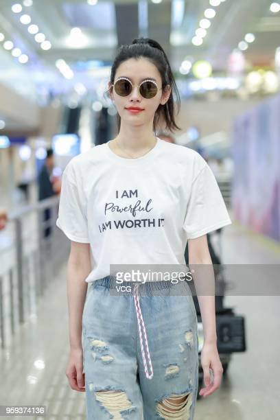 Fashion model Ming Xi Mengyao arrives at Shanghai Pudong International Airport after attending the 71st Cannes Film Festival on May 17 2018 in...