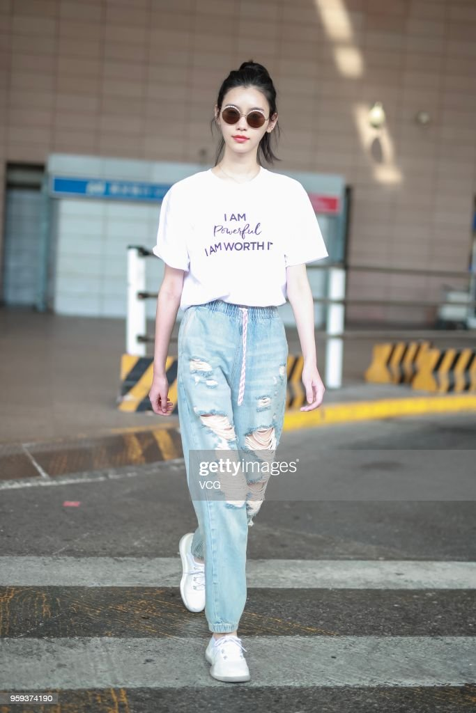 Fashion model Ming Xi Mengyao arrives at Shanghai Pudong International Airport after attending the 71st Cannes Film Festival on May 17, 2018 in Shanghai, China.